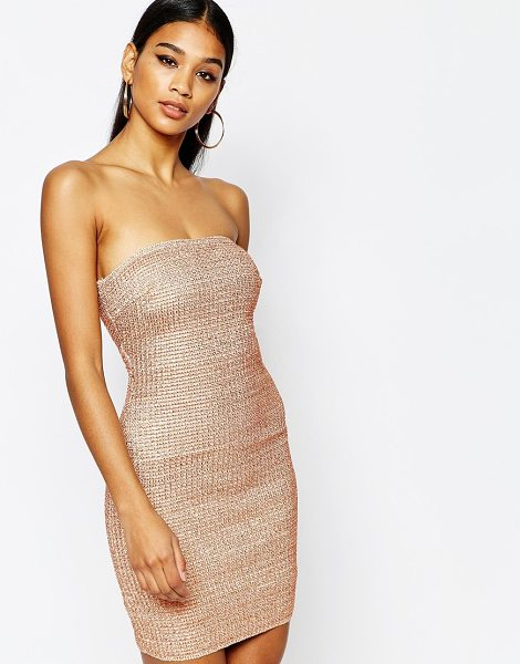 Wow Couture Bandeau bandage dress in metallic in copper - Body-Conscious dress by Wow Couture, Textured metallic...