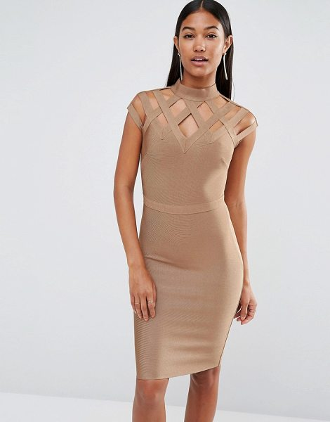 Wow Couture WOW Couture High Neck Bandage Dress in tan - Body-Conscious dress by Wow Couture, Firm-stretch...