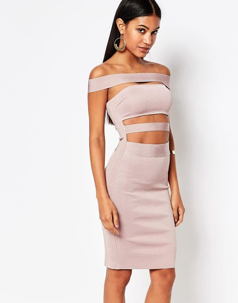 "Wow Couture WOW Couture Off Shoulder Bandage Dress in pink - """"Dress by Wow Couture, Mid-weight bandage fabric,..."