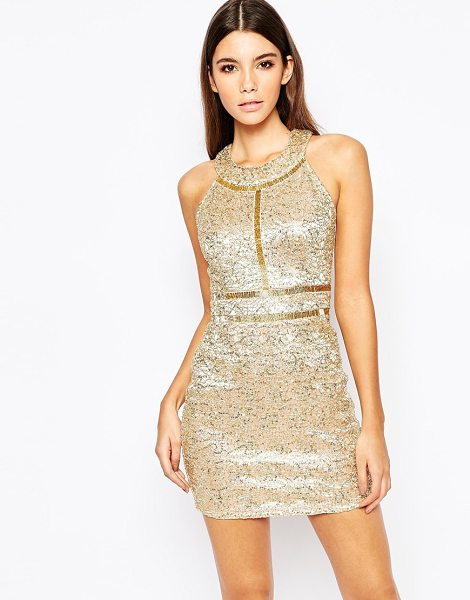 Wow Couture Premium metallic sequin mini dress with gold beaded details in gold - Party dress by Wow Couture Sequin embellished fabric...