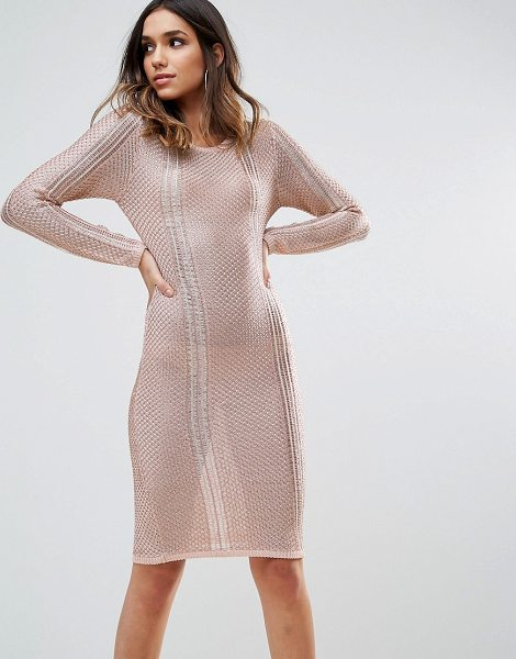 "Wow Couture WOW Couture Metallic Crochet Knitted Midi Dress in rosegold - """"Knit dress by Wow Couture, Metallic crochet knit, High..."