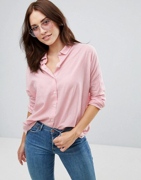 "WRANGLER Fluid Stripe Shirt in pink - """"Top by Wrangler, Woven cotton, Small collar, Dropped..."