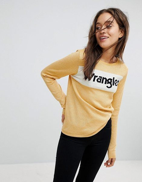Wrangler sparkle logo knit in honeygold - Sweater by Wrangler, Metallic-thread finish, Crew neck,...