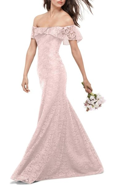 WTOO amour lace off the shoulder gown in primrose - A ruffled drape at the shoulder-flaunting neckline adds...
