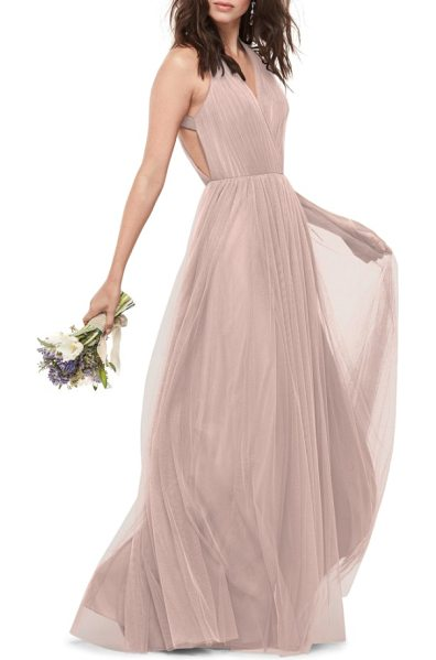 WTOO bobbinet halter gown in blush - Gathered straps span the open back of an alluring, airy...