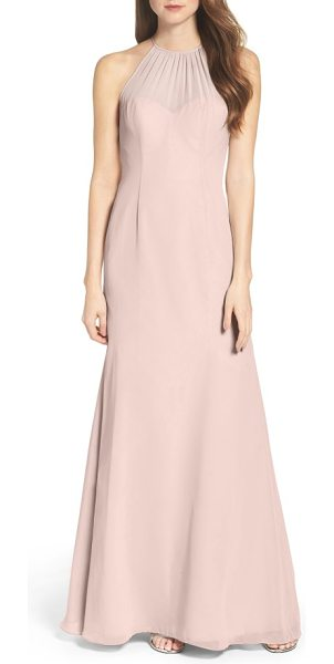 WTOO chiffon a-line gown - Softly gathered at the illusion neckline, this sleek...