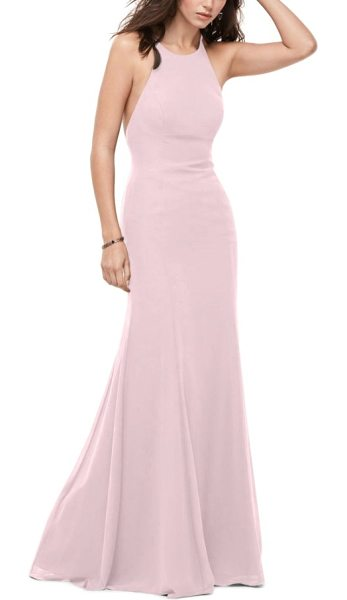 WTOO chiffon tie back gown in chateau rose - A captivating chiffon gown features a fitted bodice, an...
