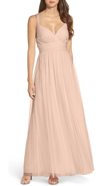 WTOO deep v-neck chiffon & tulle gown in latte - Whimsical and feminine, this wispy tulle gown is fitted...