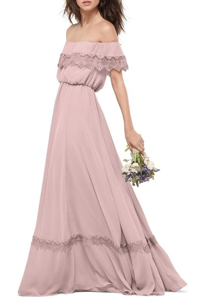 WTOO inna off the shoulder chiffon blouson gown - A band of scalloped lace at the ruffle-draped bodice and...