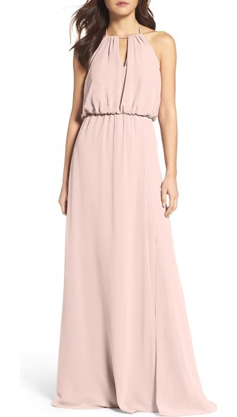 WTOO keyhole halter chiffon gown in chateau rose - This pretty chiffon gown flatters most every figure with...