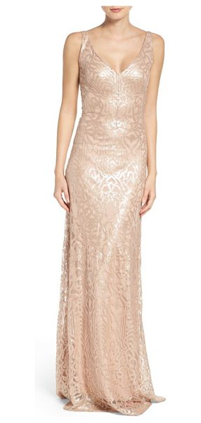 WTOO sequin embroidered a-line gown in latte - Scintillating sequins trace elegant glamour down the...