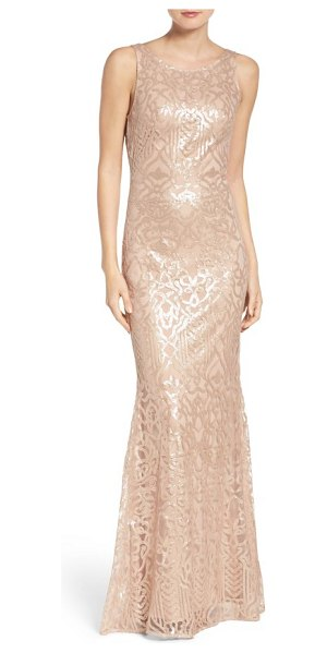 WTOO sequin embroidered cowl back a-line gown in latte - Whether coming or going, this gown presents an elegant...