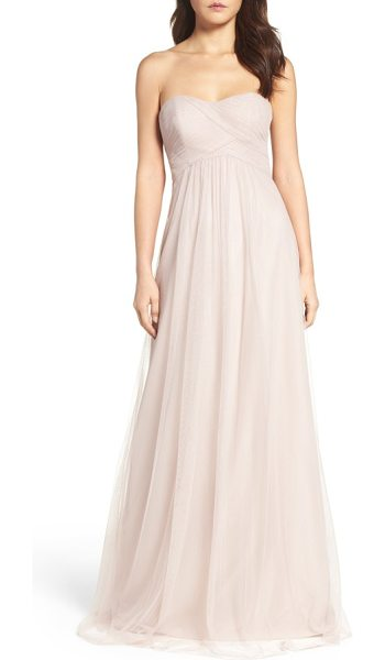 WTOO strapless tulle gown in latte - This gorgeous gown with a fitted, crisscrossed bodice is...