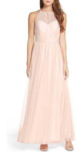 WTOO tulle halter neck gown in nude - A softly gathered sheer overlay draws the attention to...