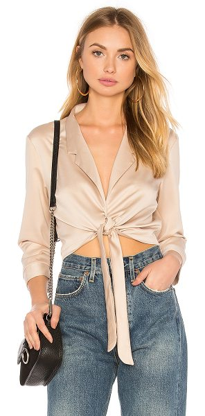 WYLDR Forever Lost Blouse in tan - 97% poly 3% elastane. Hand wash cold. Snap button and...