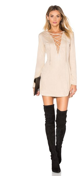 WYLDR Pretty Tied Up Dress in cream suede - 100% poly. Dry clean only. Unlined. Lace-up front with...