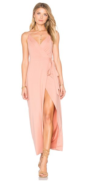 WYLDR Wrap Over Dress in blush - Cotton blend. Hand wash cold. Unlined. Adjustable...