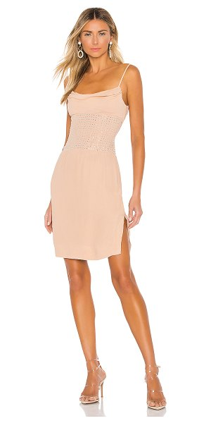 X by NBD ivy embellished midi dress in nude