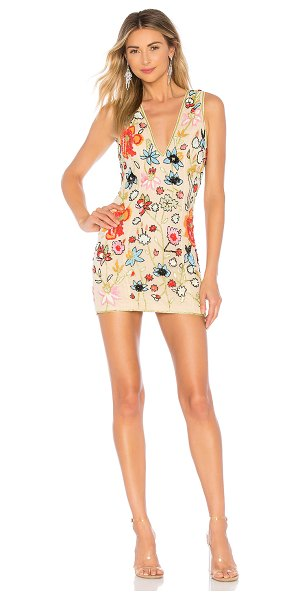 X by NBD Nanette Embellished Mini Dress in beige - Self: 100% nylonLining: 100% poly. Dry clean only. Fully...