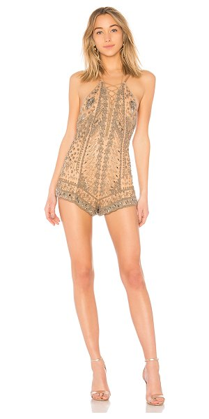 "X by NBD Pandora Romper in beige - ""Self: 100% nylonLining: 90% poly 10% spandex. Dry clean..."