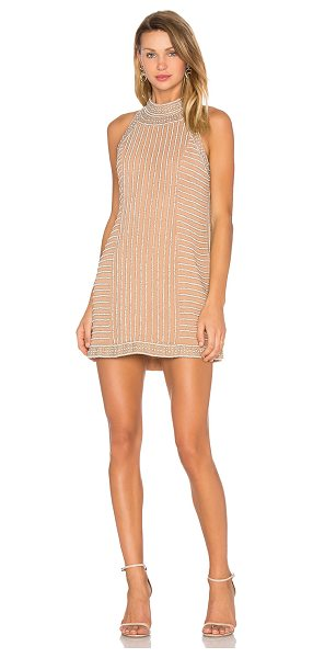 X by NBD Rita Dress in beige - Adorned with faux pearl embellishments and intricate...