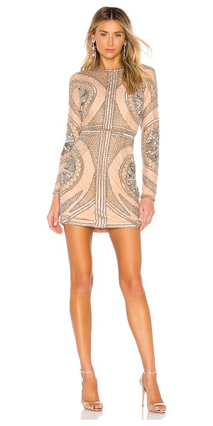 X by NBD whitney embellished mini dress in pewter & nude