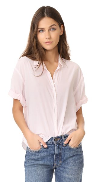 XiRENA chance short sleeve button down in venus pink - A loose, lightweight XIRENA button-down. Fold-over...