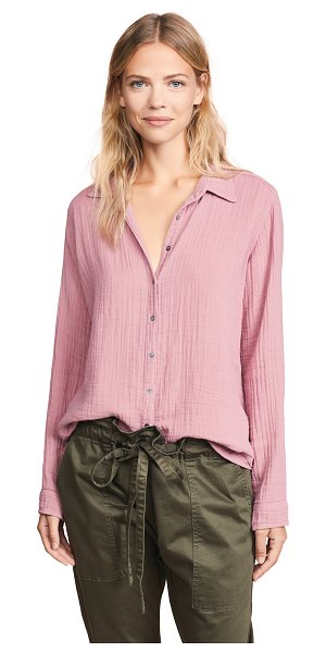 XiRENA scout button down shirt in faded rose - Fabric: Gauze Waist-length style Collared neck Long...
