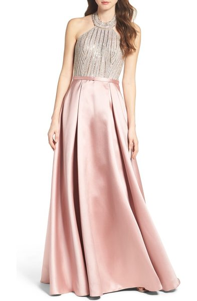 XSCAPE beaded halter ballgown - Light up the night in a scene-stealing ballgown that...