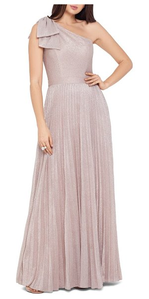 Xscape bow one-shoulder glitter gown in pink