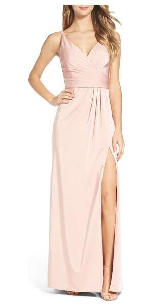 XSCAPE cross back side pleat satin gown - Lustrous satin is carefully pleated and wrapped to one...
