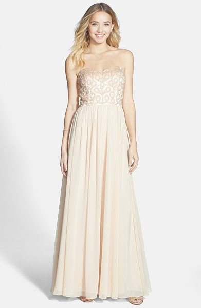 Xscape embellished chiffon fit & flare gown in sand - Satiny faux pearls and matching beading front the...