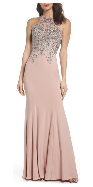 XSCAPE Embellished Embroidered Gown | Nudevotion
