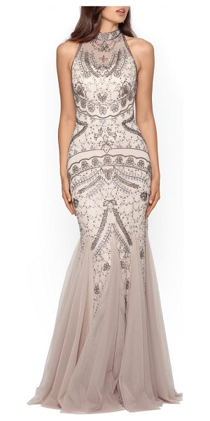 Xscape embellished godet mermaid gown in beige
