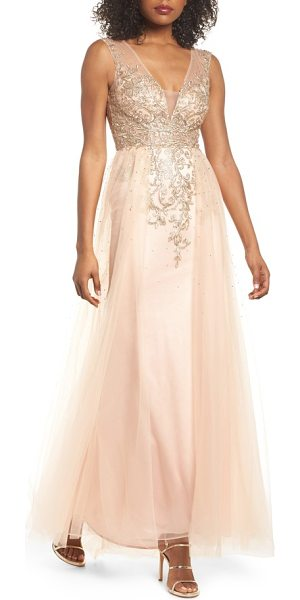 XSCAPE Embellished Illusion A-Line Gown | Nudevotion