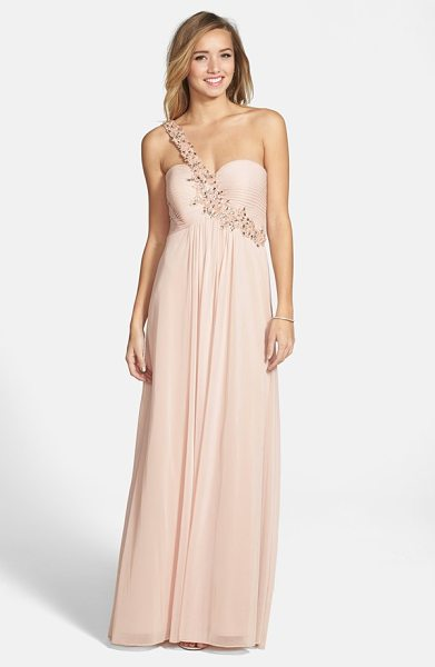 Xscape embellished one-shoulder jersey gown in blush - A bejeweled bodice tops an airy matte-jersey gown full...