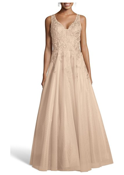 Xscape embroidered chiffon evening dress in pink
