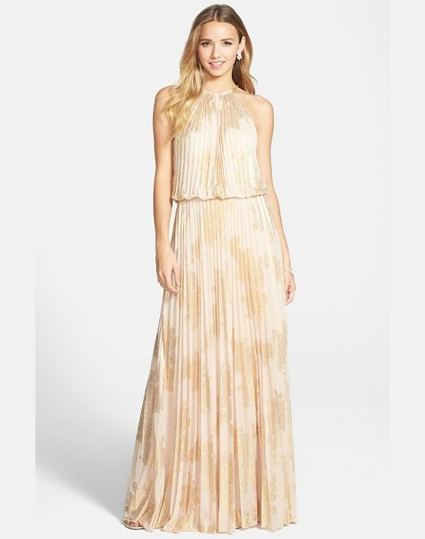 Xscape foiled pleated jersey blouson dress in la nude/ gold - A golden chain suspends the blousy bodice of this...