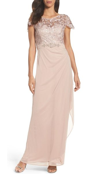 Xscape lace column gown in taupe - Metallic floral lace illuminates this polished evening...
