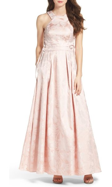XSCAPE lace-up side brocade ballgown - Sheer mesh panels at the sides laced up with slender...