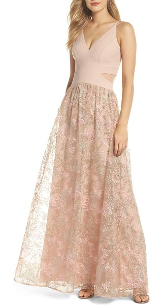 XSCAPE mesh inset embroidered gown - Lush embroidered fronds trail across the floaty skirt of a...