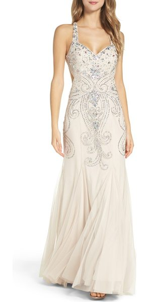 Xscape mesh mermaid gown in stone - Iridescent crystals light up the form-fitted, backless...