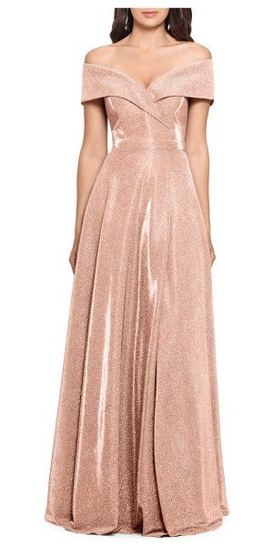 Xscape off the shoulder glitter gown in beige