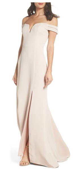 Xscape off the shoulder trumpet gown in pink - A pretty notched sweetheart neck and shoulder-baring cut...