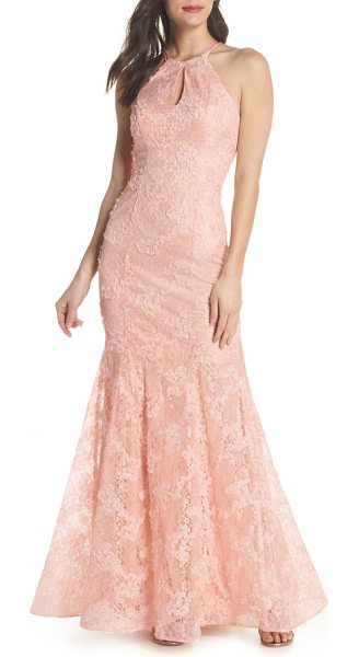 XSCAPE Ruched Lace Halter Mermaid Gown | Nudevotion