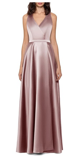 Xscape satin a-line gown in beige