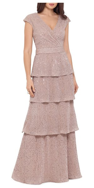 Xscape sequin embellished tiered gown in beige