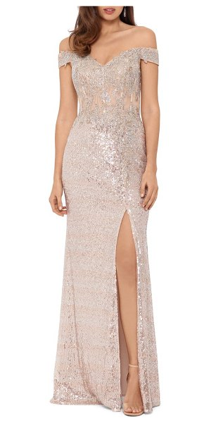 Xscape sequin embroidered off the shoulder gown in pink