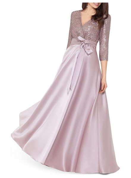 Xscape sequin & satin a-line gown in pink