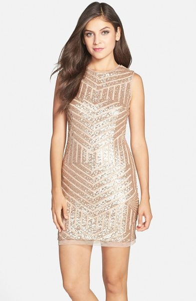 Xscape sequin sleeveless sheath dress in gold/ nude - Breathtaking golden sequins form a stunning chevron...